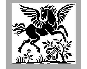 Pegasus. Cross stitch pattern. Filet crochet pattern. Instant download PDF.
