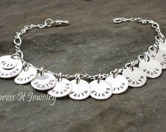 Grandmothers Bracelet 10 Sterling Silver and Personalized Discs