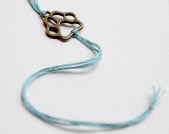 pawprint friendship bracelet bronze dog paw wish bracelet personalized jewelry valentine gift for her custom wishlet pet remembrance jewelry