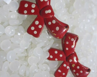 Vintage barrette, red polka dot bow rare pair