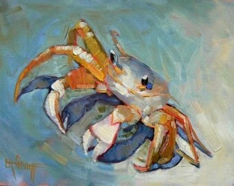 SandCrab Canvas Giclee Print,  Children wall decor, bathroom art print, free shipping,