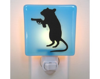 Funny Night Light - Gerbil With a Gun - Hand Painted Glass - Humor Gift