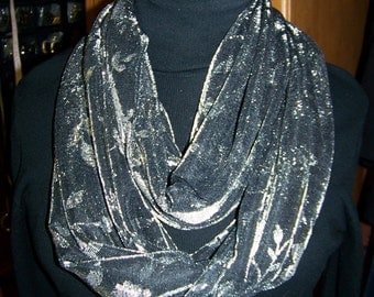 "SALE Ladies Infinity Scarf Black and Silver floral print Jersey fabric 72"" x 14"""