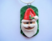 Cute Santa Claus - Handmade Polymer Clay Dog Tag Style Necklace