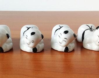 Vintage Japanese Sumo Wrestler Chopstick Holders, Porcelain Set of Four