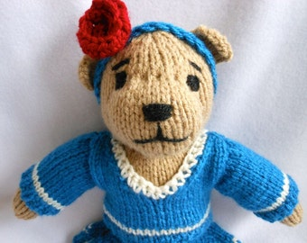 Knitted Teddy Bear with Knitted Blue Sweater and Knitted Skirt, Stuffed Animal, Stuffed Bear, OOAK, Girl Teddy Bear