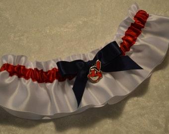 Handmade wedding garter keepsake CLEVELAND INDIANS wedding garter on satin