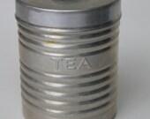 Vintage Aluminum TEA Canister Black Knob Lid ITALY