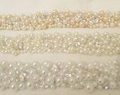 White Pearl Rhinestone Jeweled Statement Bridal Sashes Hand Beaded Wedding Sash