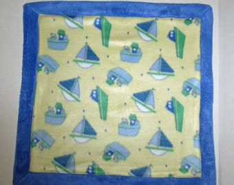 Baby Doll Blanket, Sail Boat, Tug Boat, Blue and Yellow For Dolls, 13 14 15 16 18 inch Dolls