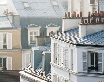 Morning light in Montmartre, soft blue and grey tones Paris, France, Paris Photography, winter in Paris, architecture, Parisian rooftops