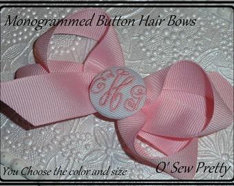 MONOGRAMMED HAIR BOWS, Monogrammed Button hair bows, fancy script monogrammed button hair bows