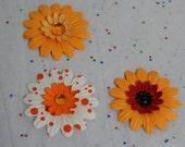 Juicy Orange Paper Flowers...Set of 3