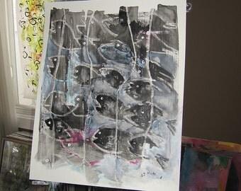 original black white painting abstract art, fish art abstract, abstract black and white, fish painting, ink fish art, sjkim art