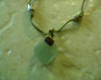 Beach Glass Necklace on Leather Cord