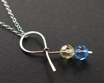 Blue Yellow Ribbon Necklace in Sterling Silver - Awareness Ribbon - Down Syndrome awareness jewelry