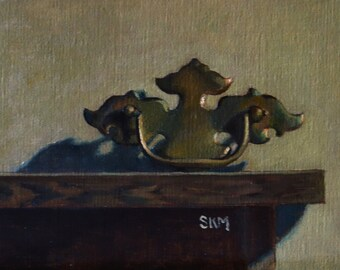 still life painting, oil painting, antique drawer handle, brass, home decor, gift idea, salvage, industrial, original artwork