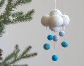 Cloud Ornament, Blue Rain Cloud Raincloud Christmas Decoration, All Natural, Eco Friendly, Turquioise Blue
