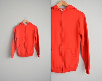 SALE // Size XS // RED Zip-Up Hoodie // Russell - Bright Color - Basics - Sweatshirt - Vintage '70s/'80s.