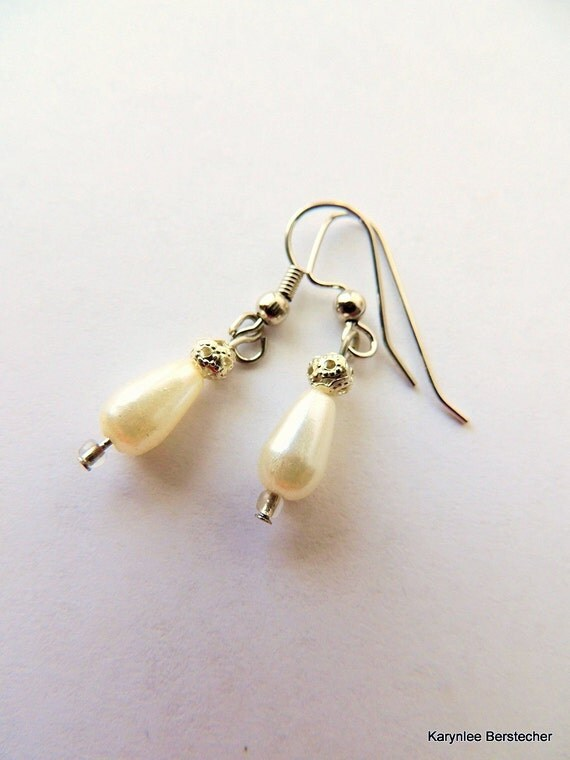 Classic Teardrop Pearl Earrings, Pearl Jewelry, Wedding Jewelry, Handcrafted Jewelry