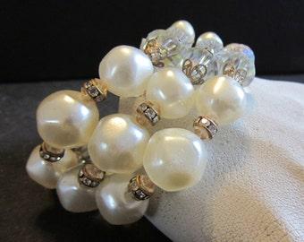 Spectacular Baroque Pearl, Glass, Brass, Rhinestone Bracelet 3 strand  Vintage 1950's