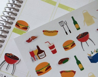 BBQ, Planner Stickers Summer Stickers Dinner Cook Out Planner Stickers Grilling Stickers