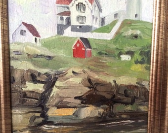 Original oil painting on wood, York, Maine, Nubble Light House 5 by 7 inches , framed