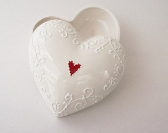 Elegant White on White Ceramic Box with Red Heart- Ready to ship