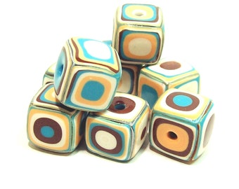 Square Handmade Beads - Polymer Clay - Klimt Pattern - Turquoise, Peach, Cream and Copper