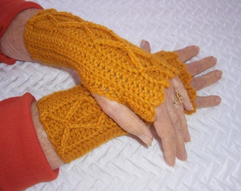 Women's Crochet Mitts, Yellow Gold Mitts, Fingerless Mitts, Wristwarmers, Wool Mitts, Crocheted Cable Mitts, Teen Girl Mitts, Gold Mittens