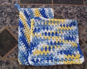 Crochet Kitchen Travel Set, Sun Kissed Ombre, Trivet Potholder, Small Dishcloth, Camping Kitchen Set, Magic Potholder, Kitchen Gift Set