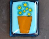 Flower Basket Large Fused Glass Magnet