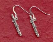 Sterling Silver Flute Earrings Solid 925 cute 3D