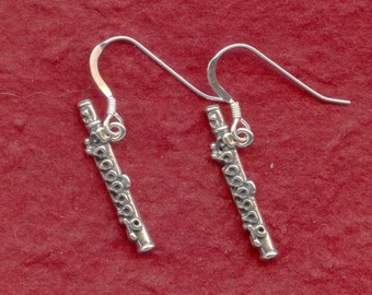Sterling Silver Flute Earrings Solid 925 cute 3D