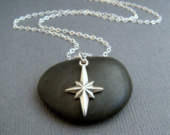 small silver north star necklace. tiny celestial charm. pole star. polaris symbol simple everyday jewelry. inspirational lucky star pendant.