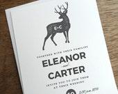 Printable Wedding Invitation - Gray Deer Monogram - Modern Rustic Printable Wedding Invitation Template - Grey Deer Wedding Invitation PDF