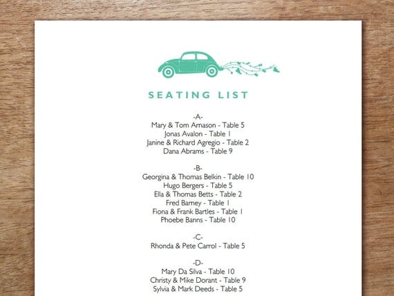 Printable Seating List - Wedding Seating List Template - Instant Download - Seating Chart PDF - Just Married - VW Bug - Volkswagen Beetle