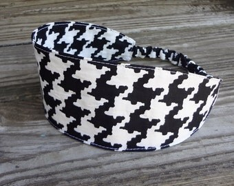 Extra Wide Fabric Headband with elastic: Black and White Houndstooth 3 inches