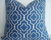 NEW-AZURE GEOMETRIC-Both Sides--Decorative Pillow Cover .-Indigo Blue / Azure / Ivory Throw /Lumbar Pillow Cover
