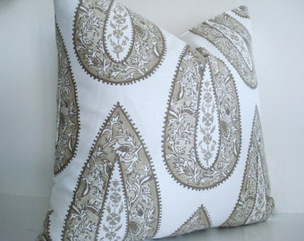 NEW- LACEFIELD Bindi Paisley Geometric Decorative Designer Pillow Cover -Tan / Sand /Taupe/ Ivory  Throw and Lumbar Pillows