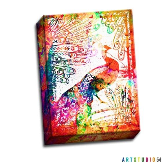 "Watercolor Peacock Bird Canvas  - 8""x10"" to 20""x24"" - 1.25 Bar Gallery Wrapped Canvas - artstudio54"