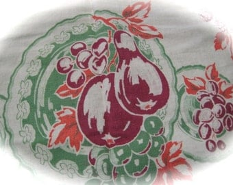 Vintage Kitchen Dish Towel Fruit Design Kitchen  Linens