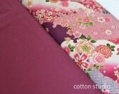 Japanese Fabric Kimono Floral Yuzen Pink Garnet Fat Quarter Set