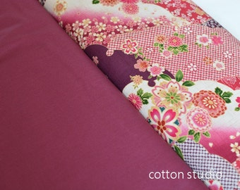 Japanese Fabric Kimono Floral Yuzen Pink Garnet Fat Quarter Set