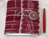 Fabric over Journal. Soft over Journal. Eco Friendly Cover. Marsala Merlot. Sari Cover Journal. Ikat.