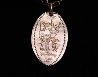Disney World Epcot Pumbaa Simba Timon Lion King pressed penny pure copper necklace