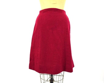 1960s skirt vintage 60s red wool a line maroon mini XS