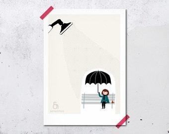 Umbrella rain girl - Sous la pluie Print 5 x 7