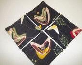 Barkcloth Coasters Set of 4 Retro Midcentury Boomerang Beat