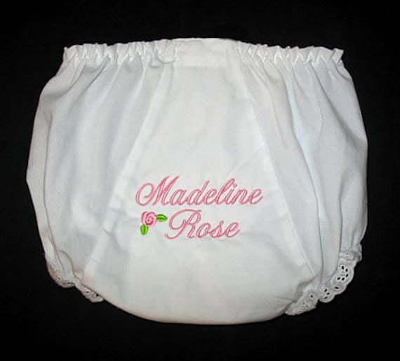 Design Your Own - Custom Personalized 1 or 2 NAME BABY BLOOMERS - You Choose Colors, Font , and Mini Design